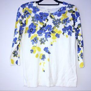 — Croft&Barrow — White 3/4 Sleeve Floral Blouse